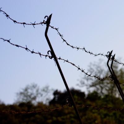 「侵入禁止の有刺鉄線」の写真素材