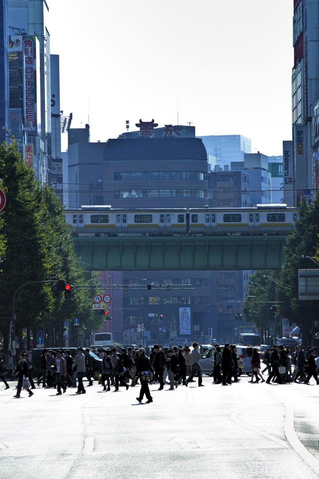 横断中の人混みの写真
