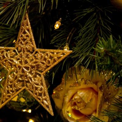 「クリスマスツリーについたスター飾り」の写真素材