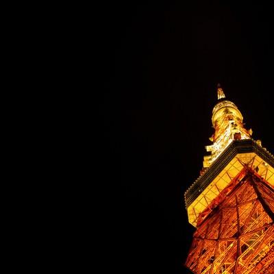 「夜の東京タワー(下から)」の写真素材