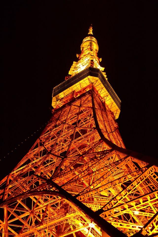 ライトアップされた東京タワーの写真