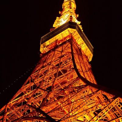 「ライトアップされた東京タワー」の写真素材
