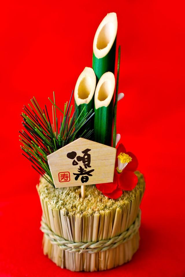 「小さい門松の飾り」のフリー写真素材