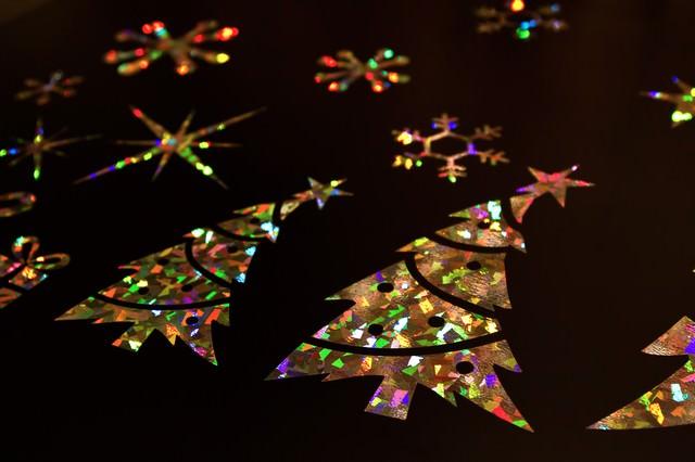 クリスマスツリーのキラキラシールの写真