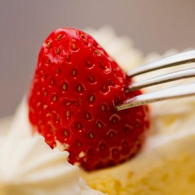 「フォークで苺を刺す」の写真素材