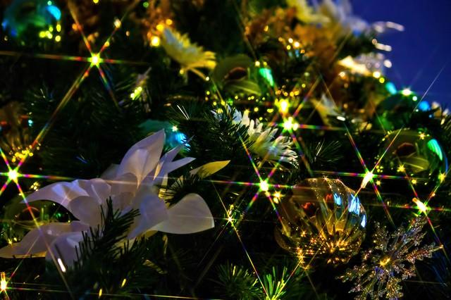 「輝くクリスマスツリーの飾り」のフリー写真素材