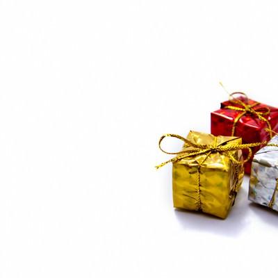 「プレゼントボックス3つ」の写真素材