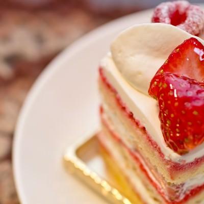 「四角い苺のショートケーキ」の写真素材