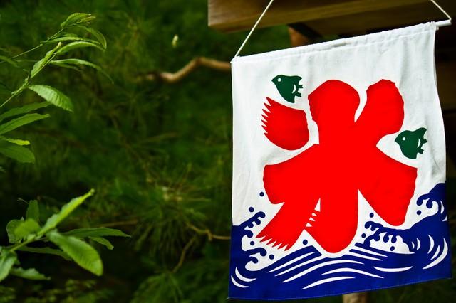 店頭のカキ氷の旗の写真