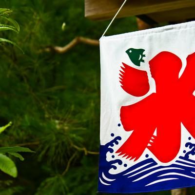「店頭のカキ氷の旗」の写真素材