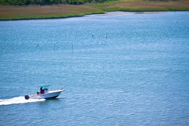 多摩川を走るボート