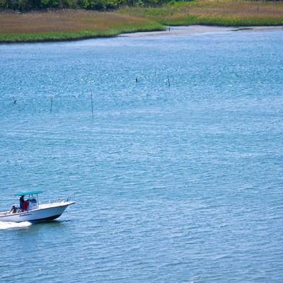 「多摩川を走るボート」の写真素材
