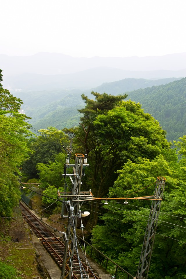 大山の線路と山々の写真