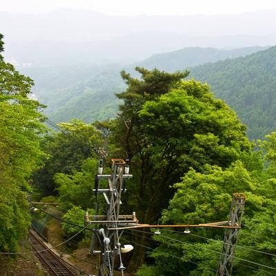 「大山の線路と山々」の写真素材