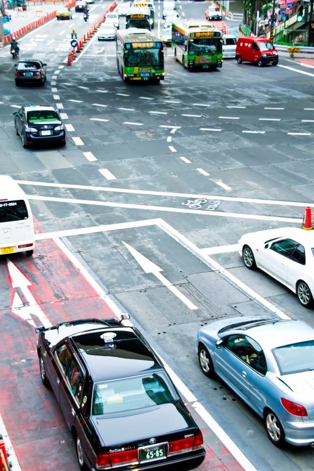 渋谷駅前の交差点の写真