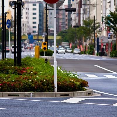 「進入禁止の標識と街並み」の写真素材