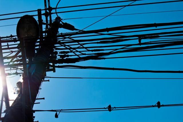 逆光と電柱の写真