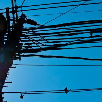 「逆光と電柱」の写真素材