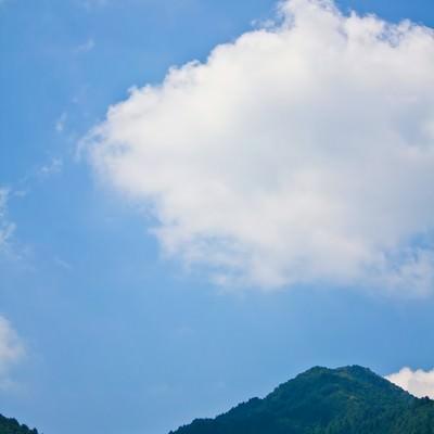 「真夏の青空と山」の写真素材