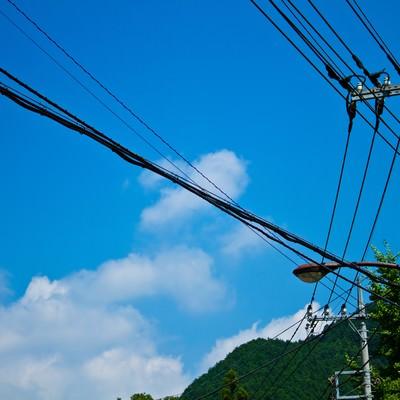 「真夏の青空と電柱・電線」の写真素材