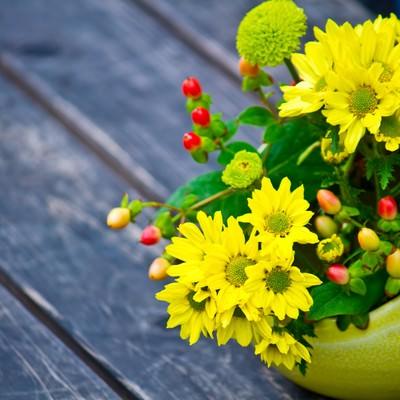 「丸い花瓶の黄色い花」の写真素材