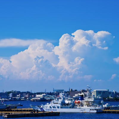大きな入道雲と港の写真