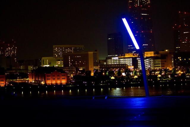 大桟橋からの赤レンガ(夜景)の写真