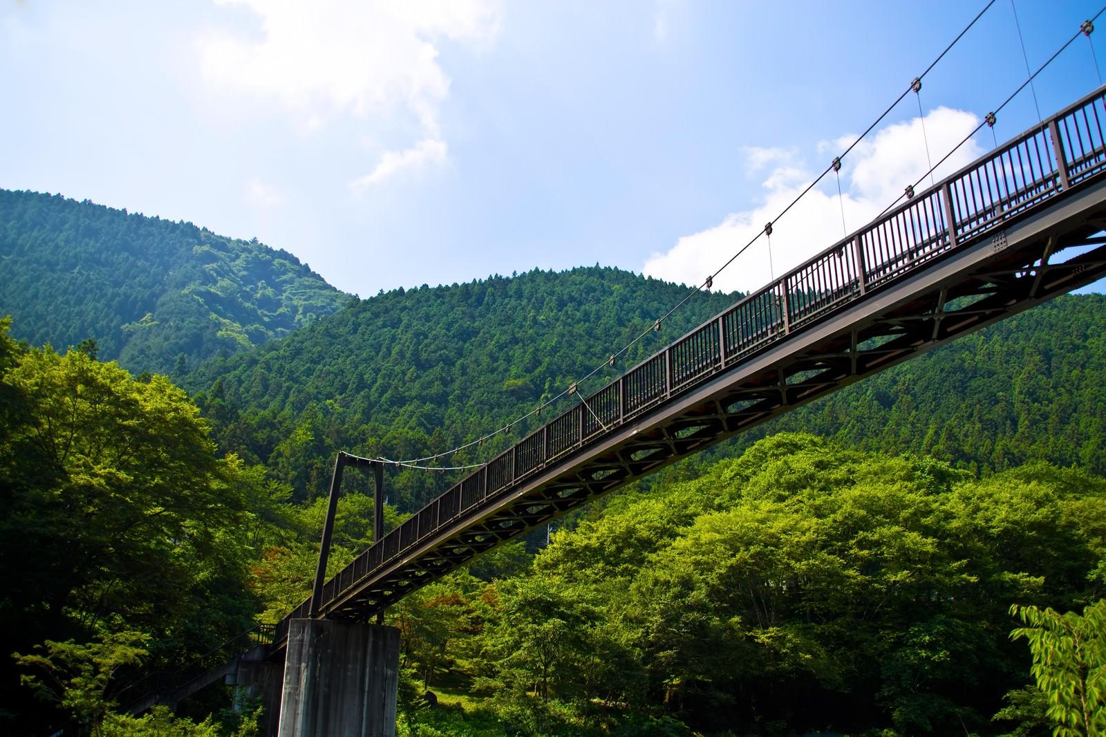 「夏の山と架橋夏の山と架橋」のフリー写真素材を拡大