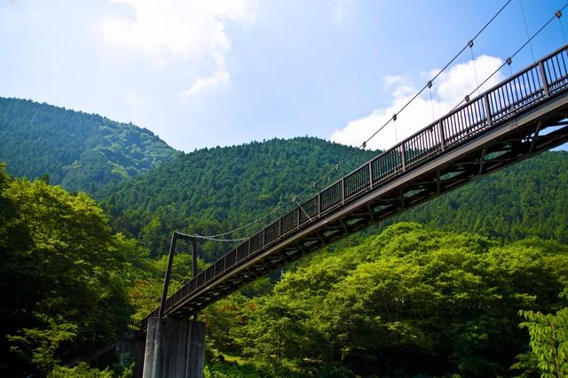 「夏の山と架橋」のフリー写真素材