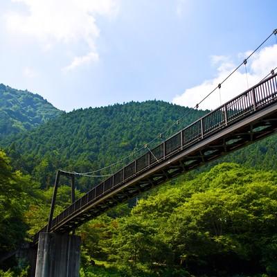 「夏の山と架橋」の写真素材