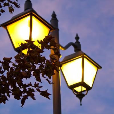 「枯葉とオシャレな街灯」の写真素材
