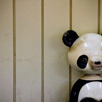 「朽ちたパンダの遊具」の写真素材
