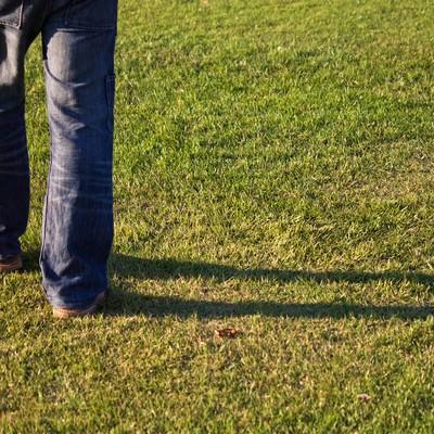 秋の芝生と足元の影の写真