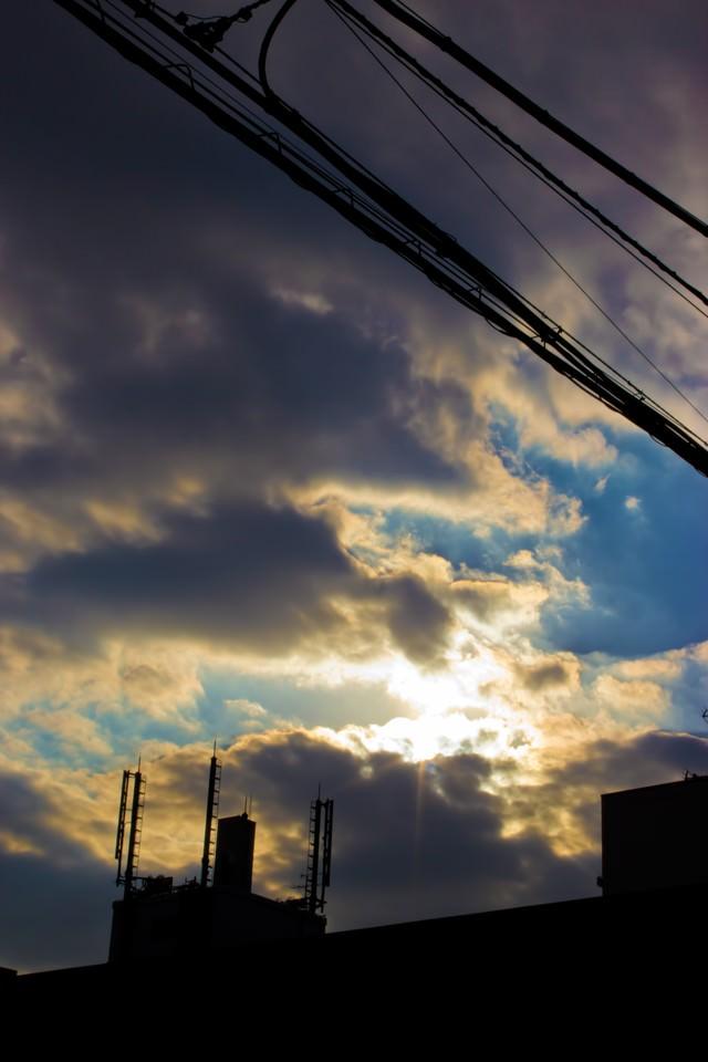 夕暮れの空模様の写真