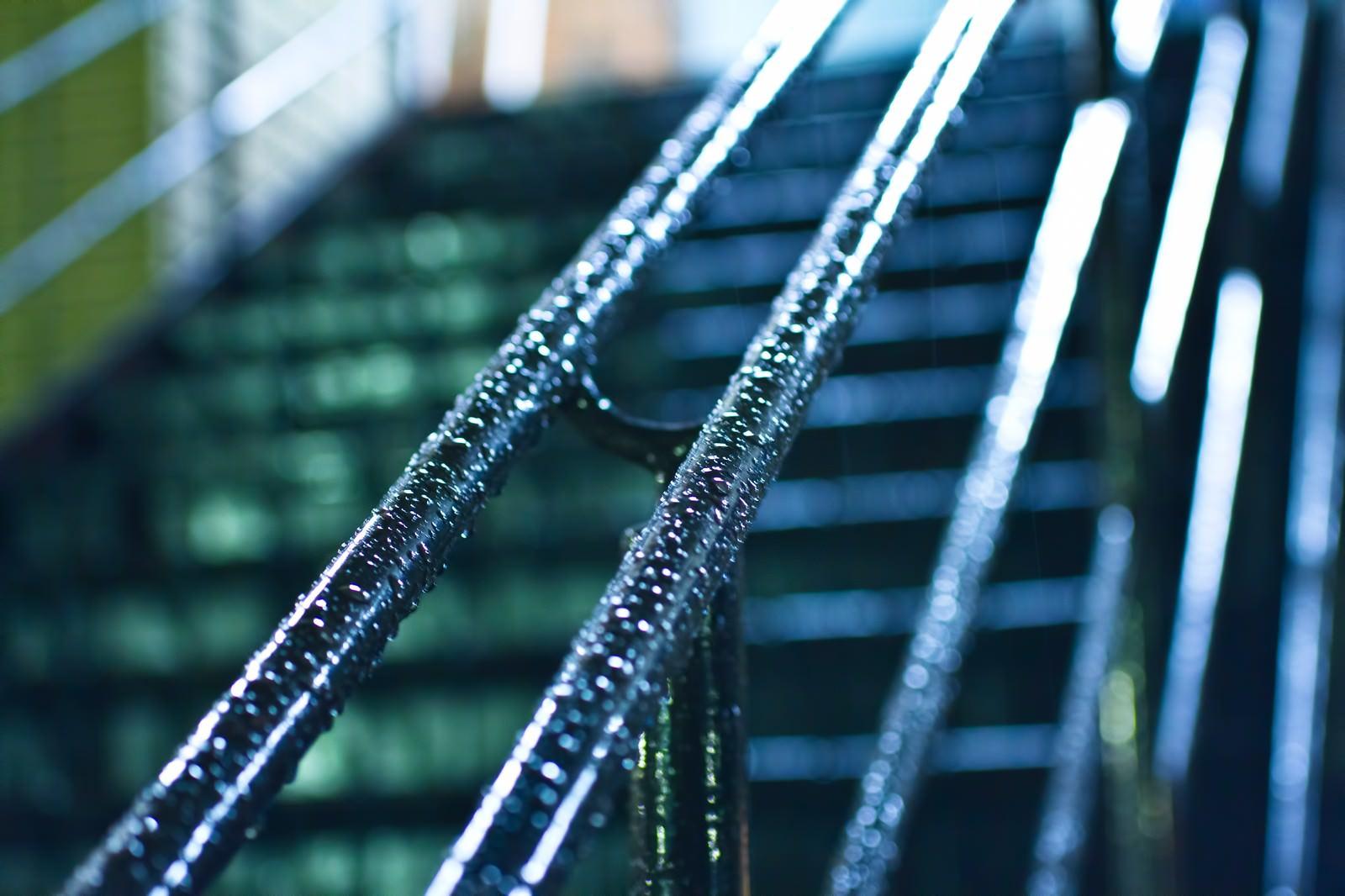 「雨に濡れた手すり」の写真