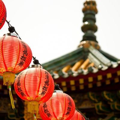 「横浜中華街の提灯」の写真素材