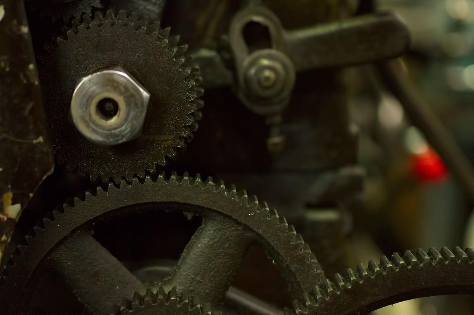 「旋盤の歯車(ギア)」の写真