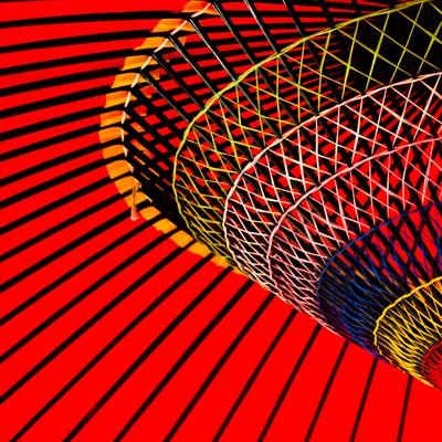 「鮮やかな紅い傘」の写真素材
