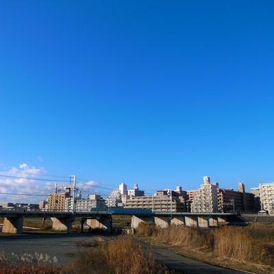 「河川敷の街並みと青空」の写真素材