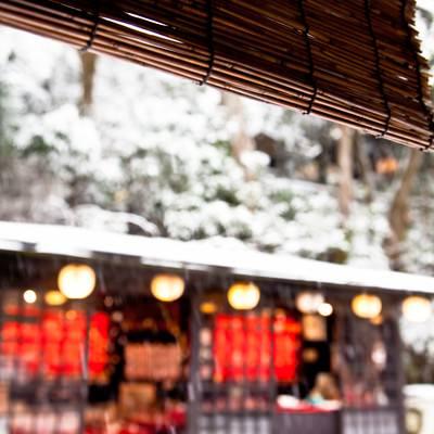 「雪が積もるお茶処」の写真素材