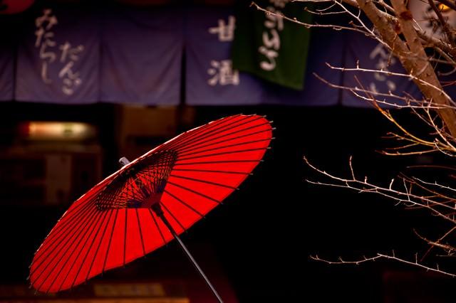 甘味処と赤い日傘の写真