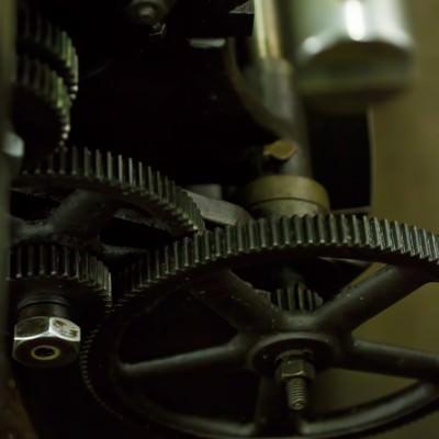 「汎用旋盤のギア」の写真素材