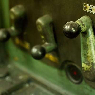 「汎用旋盤のレバー」の写真素材
