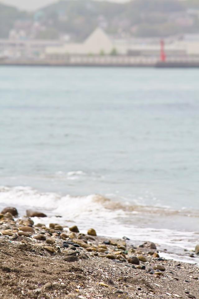 猿島の砂浜と海の写真