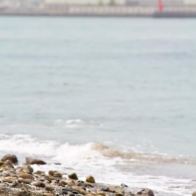 「猿島の砂浜と海」の写真素材