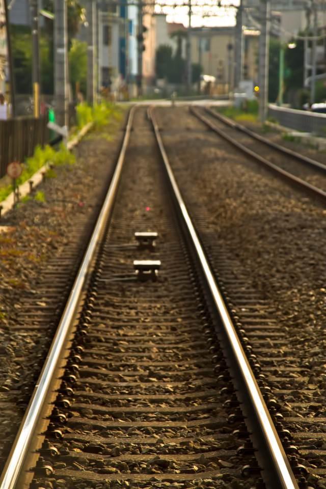 東横線の線路の写真