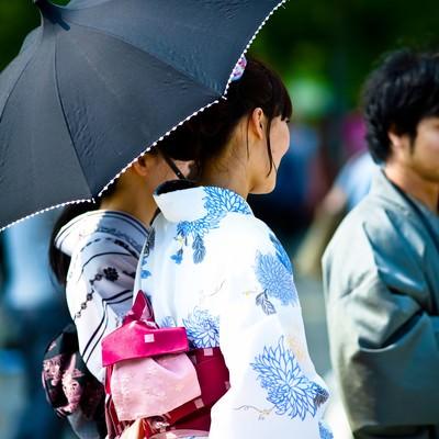 「日傘をさす浴衣の女性」の写真素材