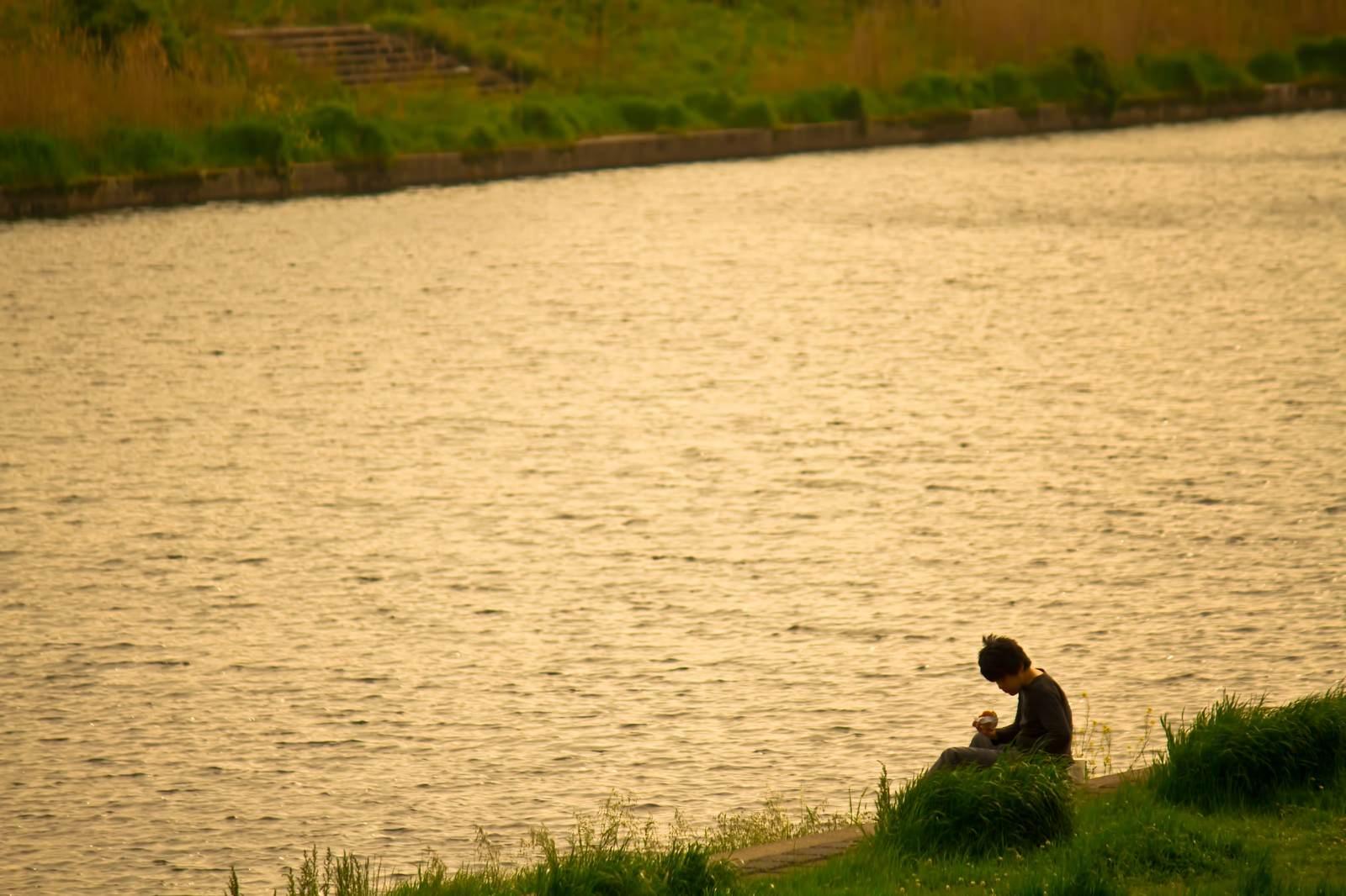「夕暮れの河川敷」の写真