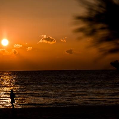 「夕焼けの浜辺」の写真素材
