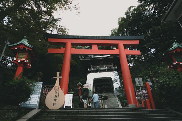 江島神社の鳥居(入り口)の写真